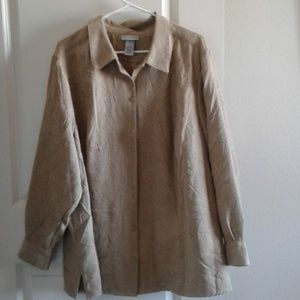 Catherine's Shirt Button Up 2X 22/24W Tan LS